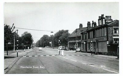 B&w Real Photo Pc Showing A View Down The Deserted Manchester Road In Bury