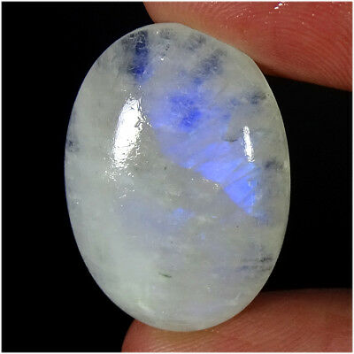 100% NATURAL RAINBOW MOONSTONE CABOCHON LOOSE 28X20X07MM GEMSTONES 30.40Cts.