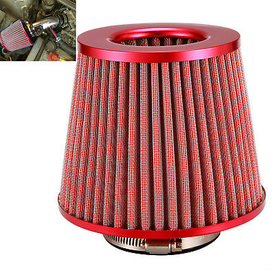 "Red Universal 3"" 76mm Cone Intake Air Filter Round Tapered Chrome Car/Truck/SUV"