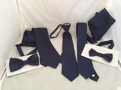 <NEW> Midnight Blue (Navy) GG Collection>Mens-Boys Bow ties and Ties-Hankie+Sets