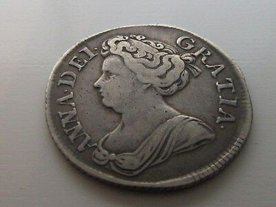 Anne Silver Shilling 1713 Roses & plumes 3 over 2.
