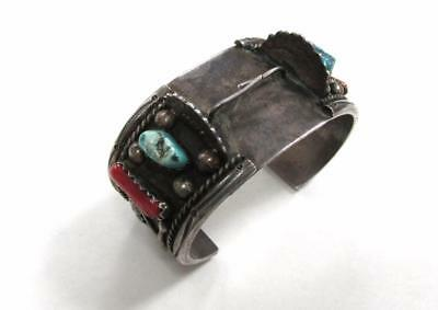 Sterling Silver Turquoise & Coral Wristwatch Cuff Bracelet ~ 94.6grams SS-565