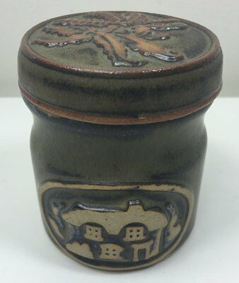 Vintage Tremar Studio Pottery - Lidded Jar Container - House On Front