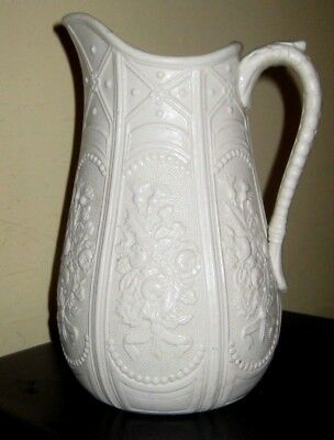 19thc moulded creamware jug with floral panelled decoration