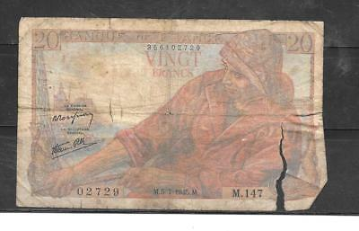 FRANCE #100b 1945 AG CIRC 20 FRNCS OLD VINTAGE BANKNOTE PAPER MONEY CURRENCY