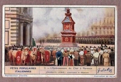 Easter Florence Italy Explosion Of The Cart Frstival 1930s Trade Ad Card