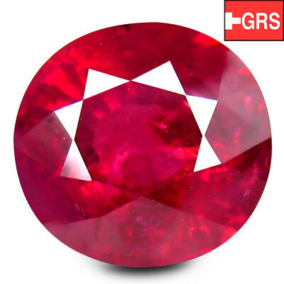 6.05 ct GRS Certified! Oval (10.75 x 10.23 mm) Un-Heated Tanzania Vivid Red Ruby