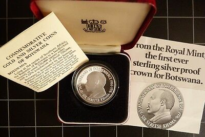 1976 Botswana Proof Silver 5 Pula Crown Coin Royal Mint cased