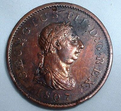 Rare 1807 Britain - 1d Penny - George III - Good Detail - NO RESERVE