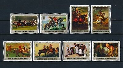 Rwanda  326-33 MNH, Paintings of Horses, 1970