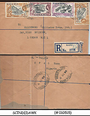 Nigeria - 1955 Registered Envelope To Great Britain With Qeii Stamps