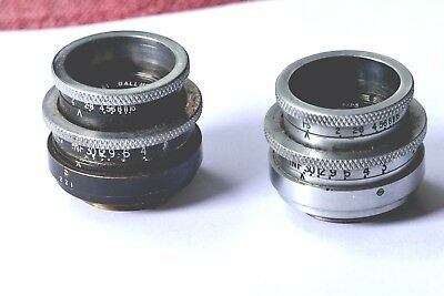 "Two Dallmeyer Speed 1"" (25mm) F1.5 'C' mount lenses, from early Bolex H16"