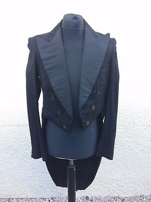 "Vintage 1940's Black Wool Tails Coat 34"" Goth Steampunk"