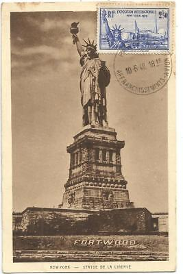 Expo Intern 2Fr50 Statue Liberte New York Carte Maximum Paris 10.6.1940 Avion