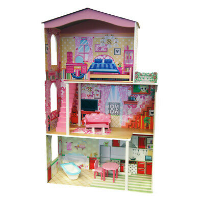 ABGEE Wooden Dolls House Comes with Furniture, 3 Floors & Elevator NEW