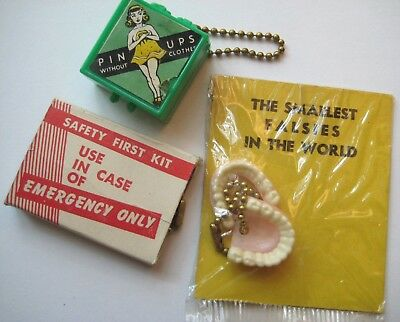 VTG 1950's Humor Gag Keychains~Smallest Falsies~Pin Up Girl~Emergency Toilet