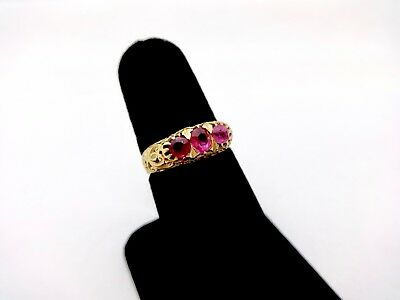 Genuine Antique Chinese Export 21K Gold Three Stone Ruby Ring,6 1/2