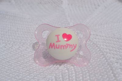 PJs  LooK ❤️ I Love Mummy ❤️ SMALL DUMMY PACIFIER + MAGNET FOR REBORN BABY DOLL