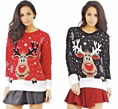 Womens Rudolph Reindeer Snowflake Christmas Jumper Ladies Sweater Top Casual UK