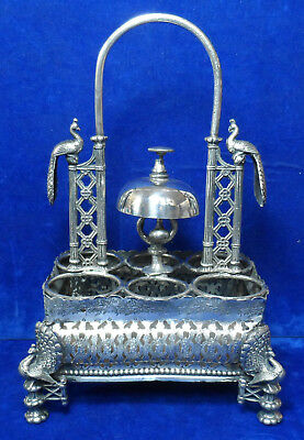 Antique 19Th Century 1844 Silver Plated Gallery Cruet Set Stand & Service Bell