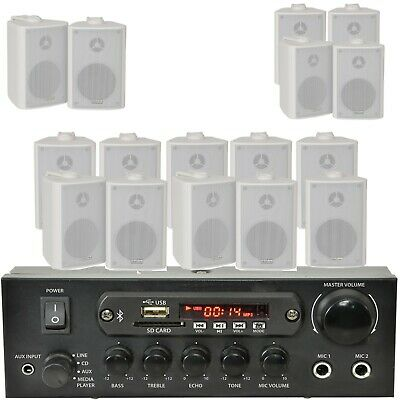 Bar/Home White Bluetooth Wall Speaker Systems -Wireless Background Music Amp Kit