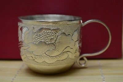 45 gram Purity S999 Fine Solid Silver Hand Made Flower Tea Cup Signed
