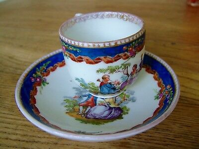 Antique Meissen Hand Painted Lovers Musician Cup & Saucer Seconds No Reserve