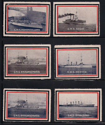 Germany WWI Military Ships Poster Stamp collection lot Steamship full gum LH