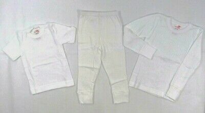 Kids Childrens White Plain Long Short Sleeve Johns T shirt Vest  Thermal 2 13 Y