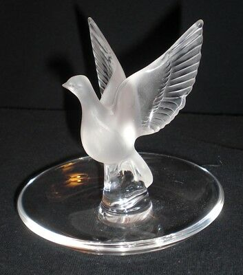 "Lalique France Crystal DOVE Bird WING SPREAD Ring Tray, Pin Dish ""THALIE"""