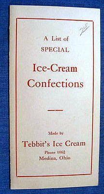 Tebbits Ice Cream Confection List Medina OH