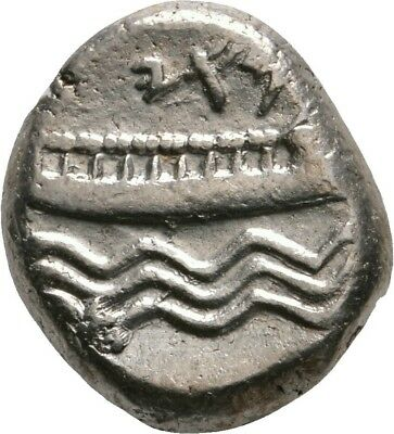 Lanz Phoenicia Arados Stater Deity Galley Rowers Waves Silver Greek §ro1631