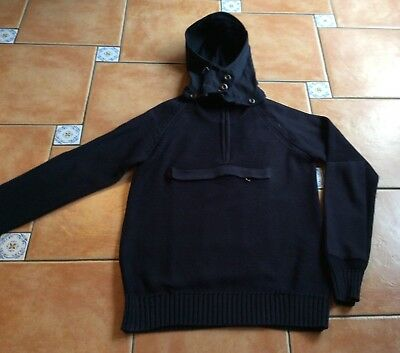 Authentic BARBOUR ToKiTo Navy Hooded Jumper * Zip Pocket * Large