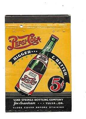 Pepsi:Cola  Matchcover   Sand Springs Bottling Co. Tulsa, Oklahoma  Joe Branham