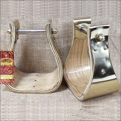 Hilason Extra Wide Wooden Bell Horse Saddle Stirrup Solid Brass Metal Wrap
