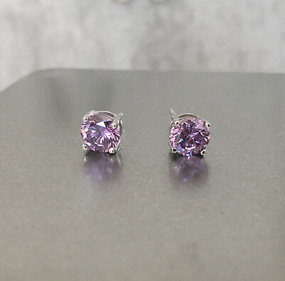 6mm 925 sliver Pierced solitaire purple CZ Four legs classical setting Earrings