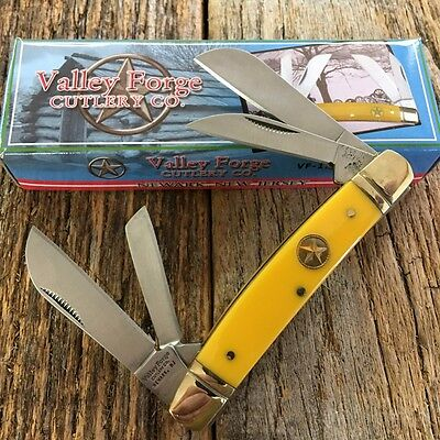 """Vintage Re-Issue VALLEY FORGE 3 1/2"""" CONGRESS Pocket Knife YELLOW VF-118Y -E"""