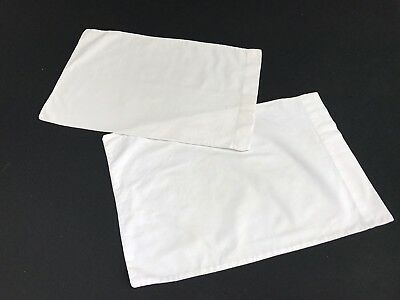 Pair Of Vintage Mismatched White Cotton Baby/child'S Pillowcases