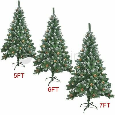 5Ft/7Ft Large Artificial Christmas Tree Snow & Cones Realistic Xmas Decoration