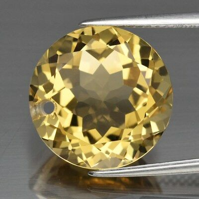 Super Clean! 9.03ct 14mm IF Round Drilled Natural Yellow Citrine, Brazil