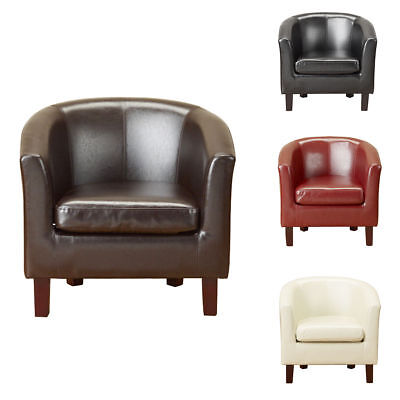 Bonded Leather Tub Chair Armchair Sofa for Dining Living Room Office Reception