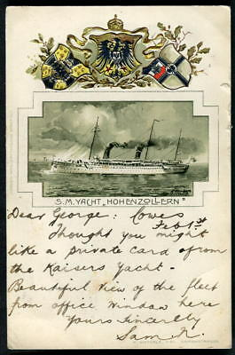 """S.M.Y. """"HOHENZOLLERN"""" Kaiser Wilhelm's yacht. Embossed. Posted from COWES. c1900"""
