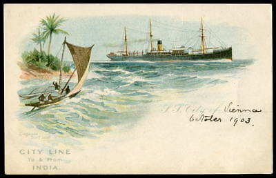 """CITY LINE Official on-board art postcard. Passenger on """"CITY OF VIENNA"""". c1900"""