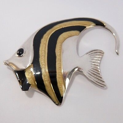 Vintage Italian Sterling Silver Enamel Tropical Fish Pin