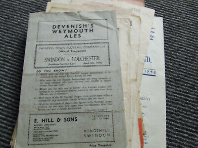 Swindon Town Reserves V Colchester United 1945-6 S L Cup