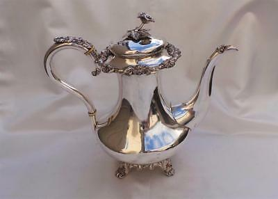 Superb Georgian Old Sheffield Plate Coffee Pot ~ Silver Finial & Cloth Strainer