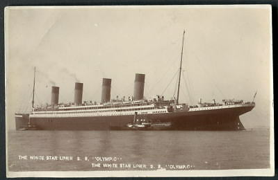 """""""OLYMPIC"""" White Star Line. Southampton Water, Paddle Steamer alongside 1912 RP"""