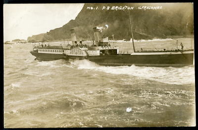 """Paddle Steamer """"BRIGHTON"""" (1878). Backing out of ILFRACOMBE HARBOUR c1910 RP"""