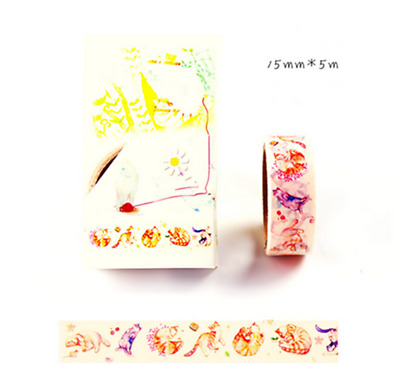 NEW Design 15mm×5M DIY paper Sticky Adhesive Sticker Decorative Washi Tape AX-22