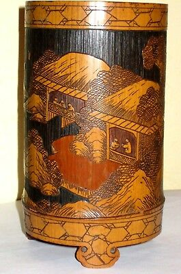 Chinese bamboo brush-pot with landscape decoration